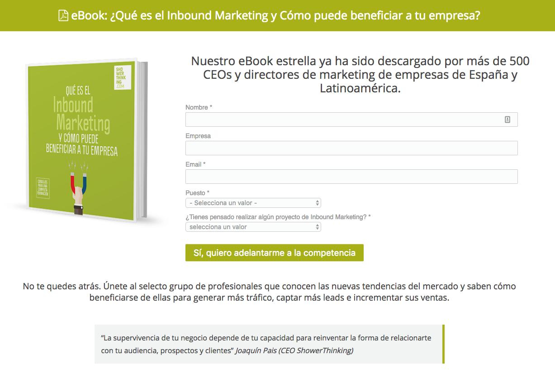 landing page descarga ebook inbound marketing