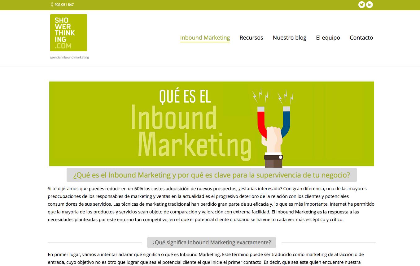 Página Qué es el Inbound Marketing ShowerThinking