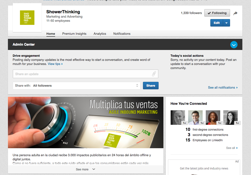 LinkedIn ShowerThinking agencia de Inbound Marketing Automation