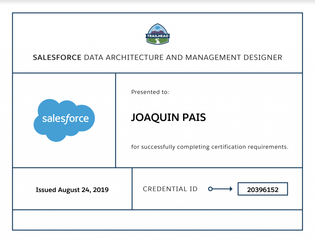 data architecture salesforce certified