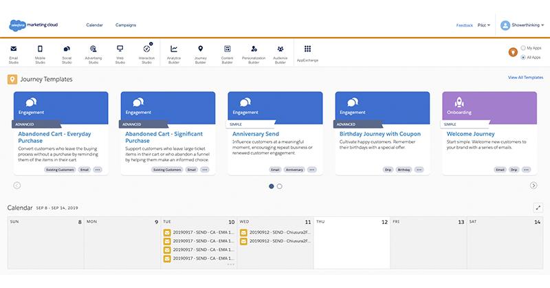 marketing cloud menu